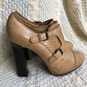 Lanvin Monk Lizard Leather Strap Heels Booties